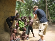 Josh and kids with bananas