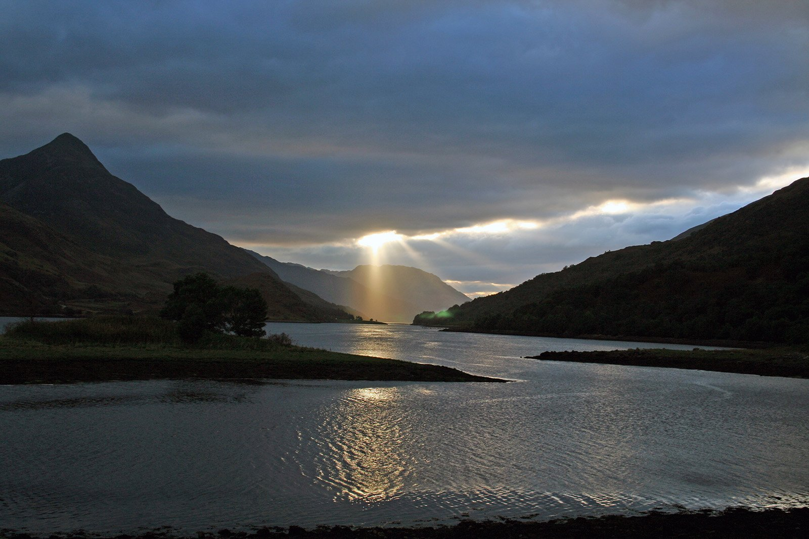 Sun rays over Loch Leven 1