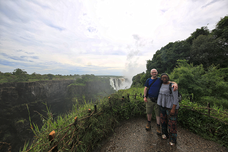 Geoff & Hazel with Victoria Falls in the background